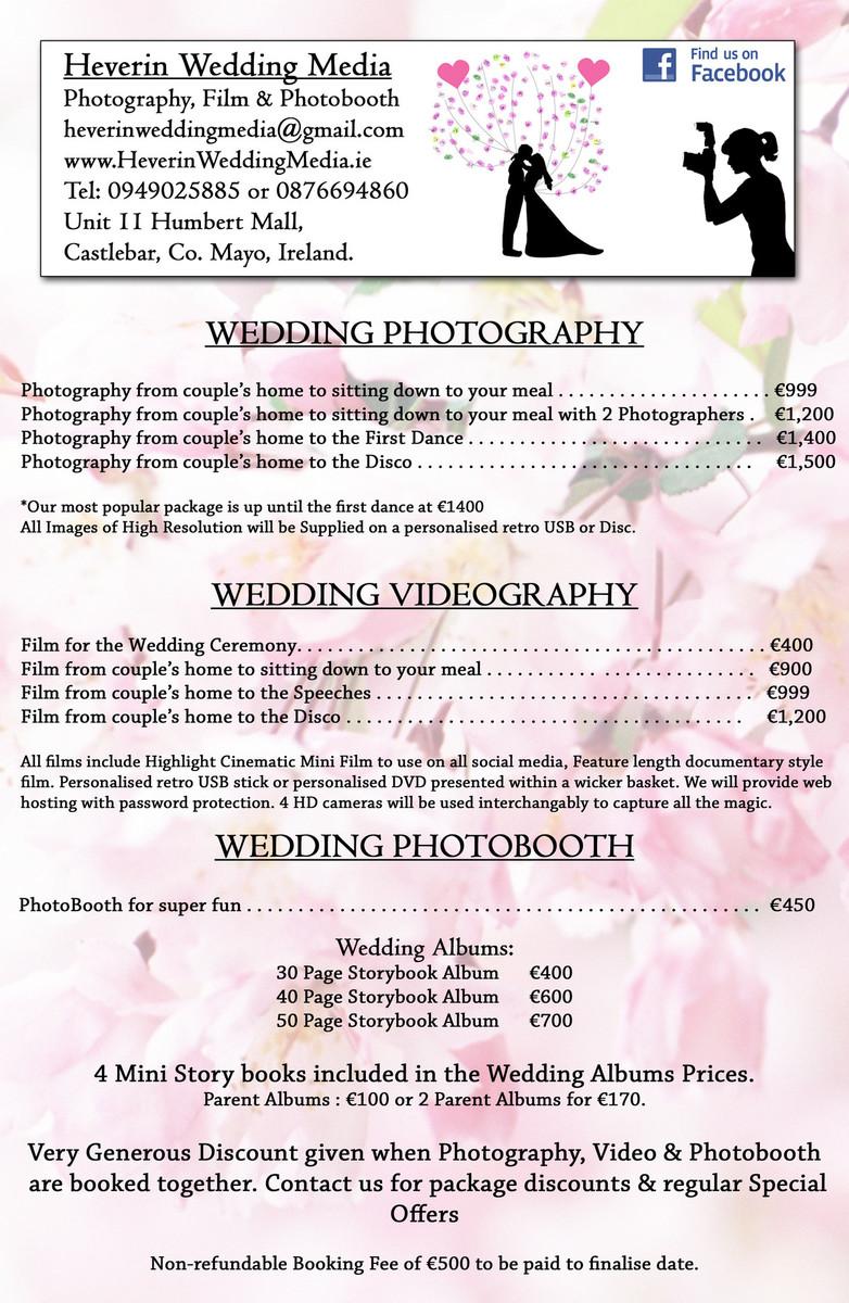 Heverin Wedding Media Price List Wedding Photographer Mayo